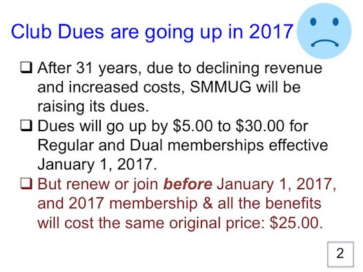 Dues are going up 1 January 2017